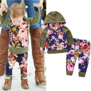 2017 Wholesale children boutique clothing little girls casual outfits army green hoodie florals top+pants kids fall clothing