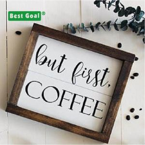 wooden rustic sign with custom words home and coffee shop decor