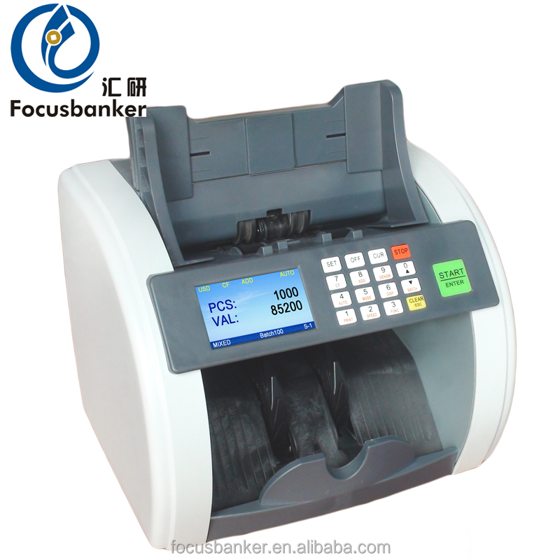 Desktop Type Accurate Processing Mix Denomination Scanning Banknote Discriminator/Bill Counter/ Currency Counting Machine