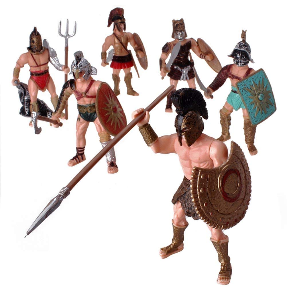 HAPTIME 6 Pcs Action Figure Spartan Army Warriors Roman Gladiator Toy with Weapon or Shield / Warrior Fighter Figures Playsets