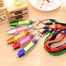 HF0014 wholesale creative stationery multi-function sticky notes&hang rope plastic ballpoint pen with LED light