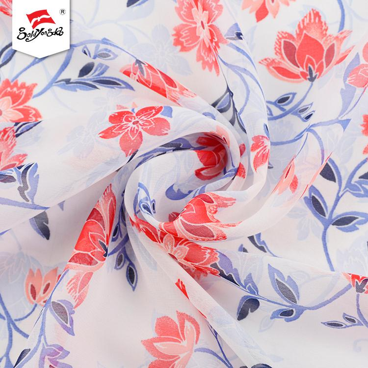 2019 Fashionable high quality online shopping OEM accept flower chiffon printed fabric for dress