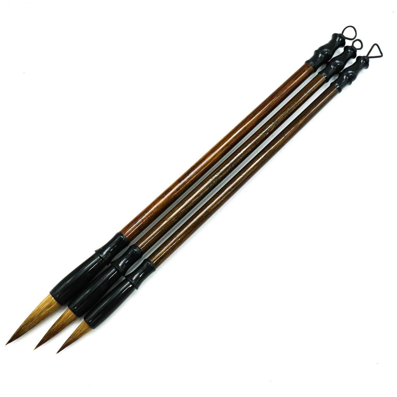 HUELE Wolf Hair Chinese Calligraphy Brush Calligraphy Painting Brushes ,3 Pack (Large, Medium, Small)