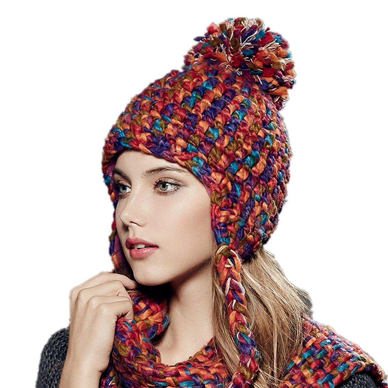 be7f84498f3 Kenmont Autumn Winter Women Girl Lady Warm Earflap 100% Hand Knit Beanie Hat  Ski Cap