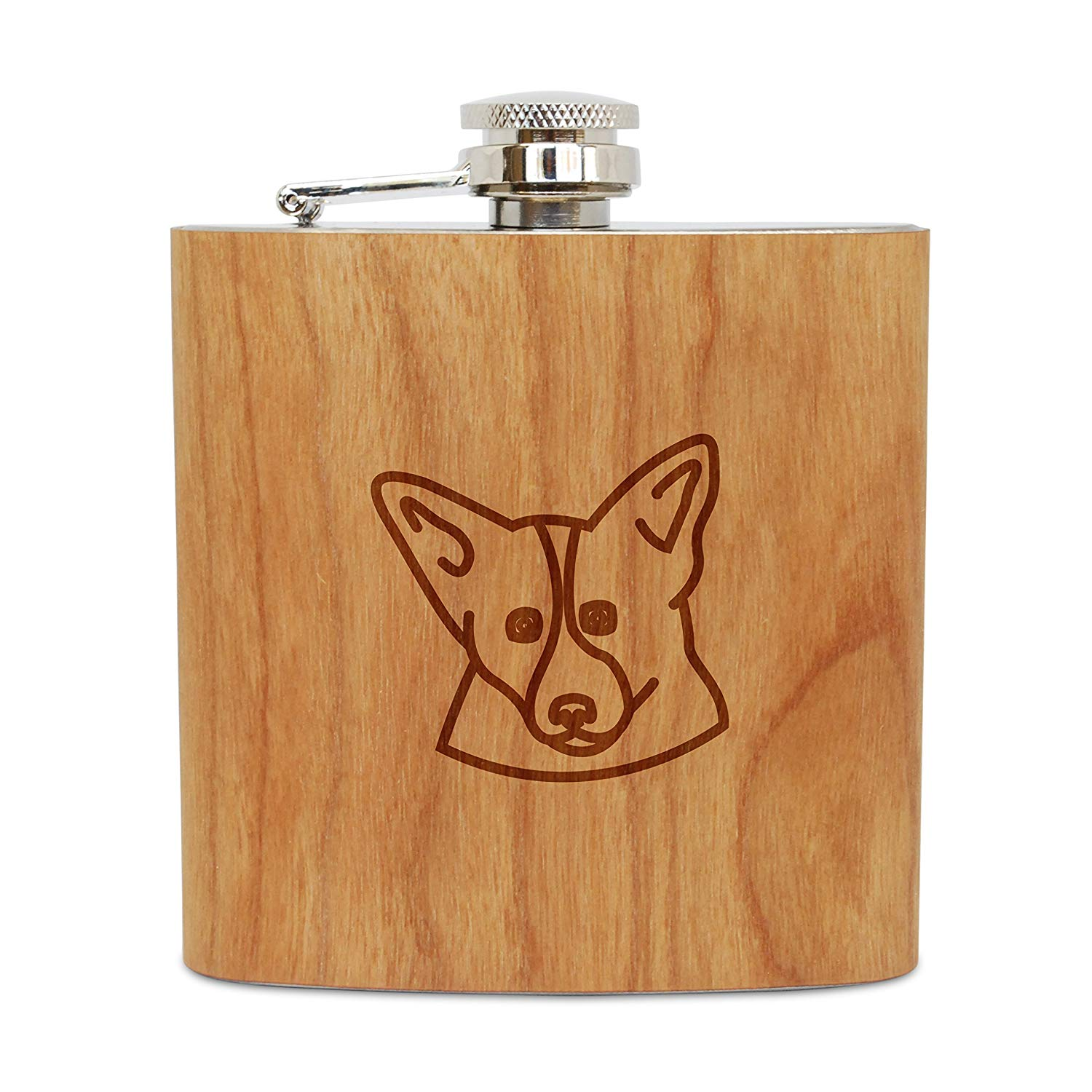 WOODEN ACCESSORIES COMPANY Cherry Wood Flask With Stainless Steel Body - Laser Engraved Flask With Corgi Design - 6 Oz Wood Hip Flask Handmade In USA