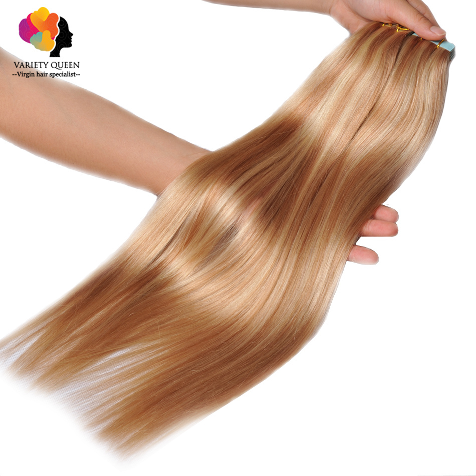 Tape in Human Hair Extensions Ombre 20/40Pcs Remy Seamless Double Drawn Skin Weft Bresilienne Straight 613 Blond Virgin Hair