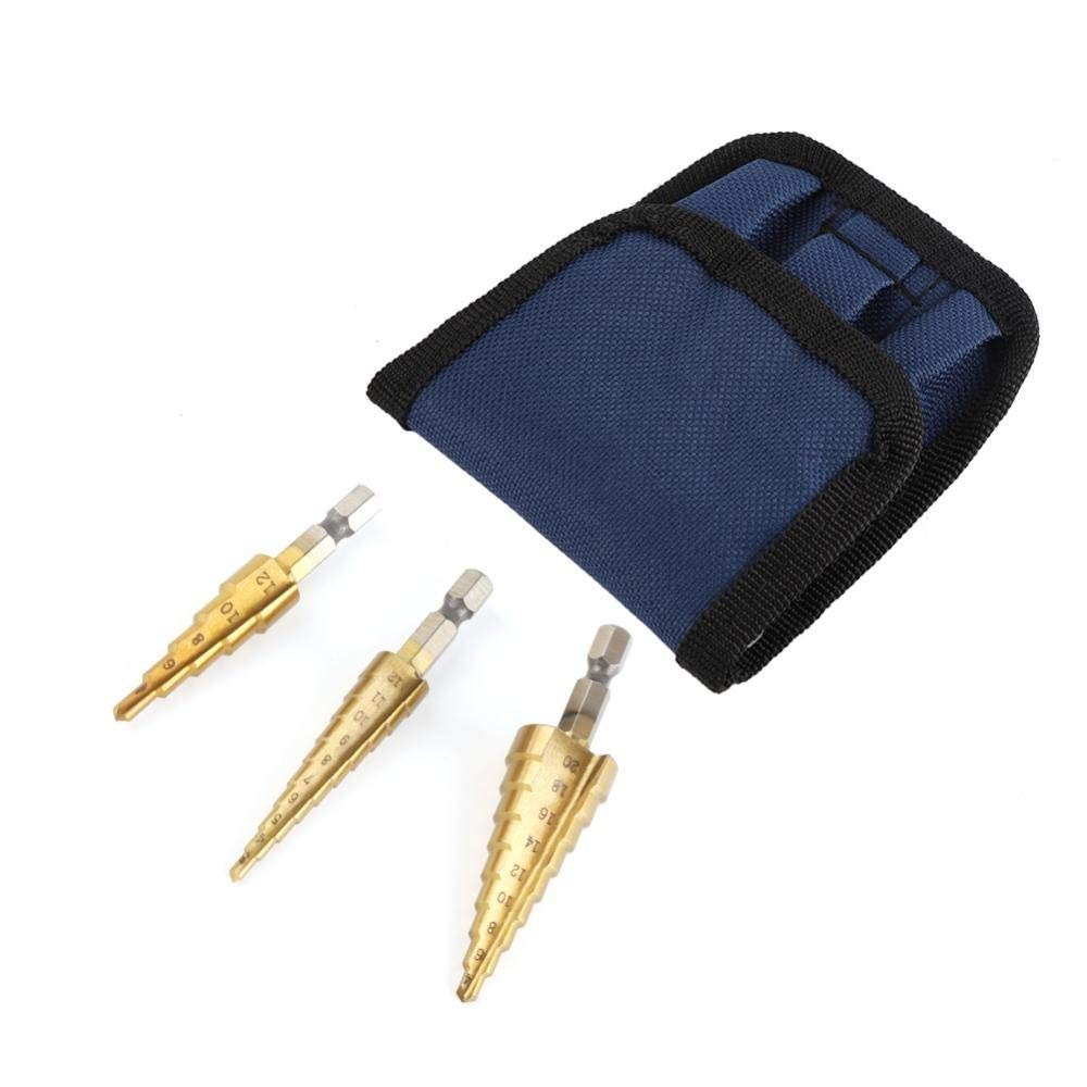 3Pcs High-Speed Steel Step Drill Bit Set Power Tools Cone Titanium Coated Metal Hole Cutter Hex Shank Drive Quick Change 3-12/4-12/4-20mm Titanium Plating with Storage Bag