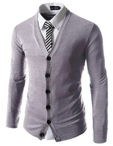 Mens Solid Color Slim V Neck Business Knit Cardigan