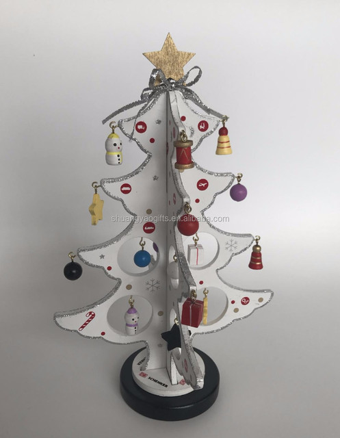 Christmas Wooden Decoration Wooden christmas tree model happy holiday table  decoration