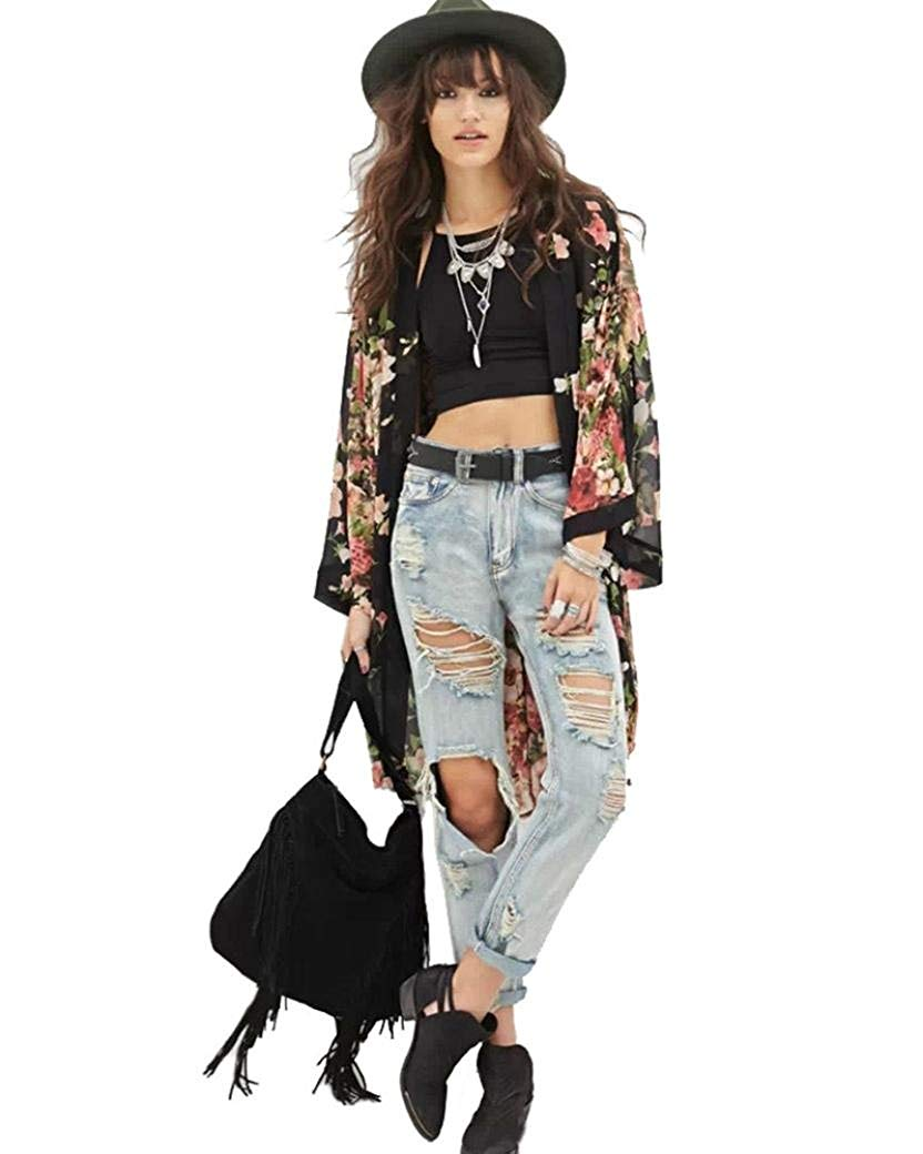 WYTong Women Open Front Floral Print Chiffon Kimono Cardigan 3/4 Sleeve Loose Jacket Blouse Top