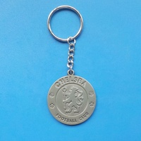 matt silver color football club logo round shaped souvenir gifts custom metal keychain