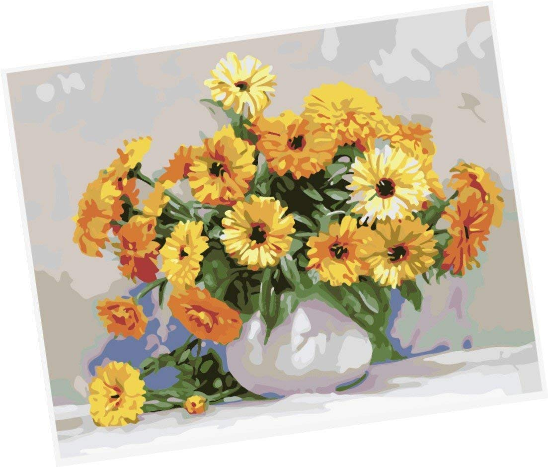 Wowdecor Paint by Numbers Kits for Adults Kids, Number Painting - Yellow Chrysanthemum,Yellow Flowers 16x20 inch (Framed)