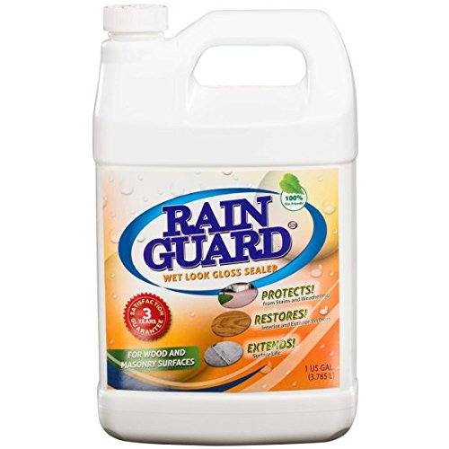 Rainguard 1 Gal Homeowner Wet Look High Gloss Masonry & Wood Acrylic Sealer Protects Decks, Porches, Patio's, Walkway's, Pavers. For use on all all types of Concrete, Brick, Masonry, Wood and Stone Surfaces.