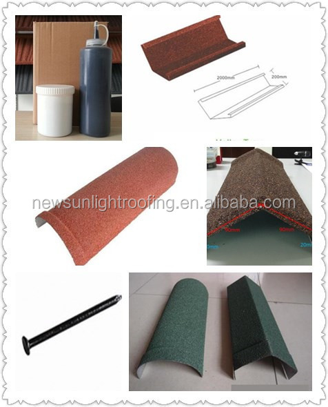 Wholesale house building material stone coated metal roofing tile accessories