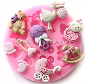 Silicone baby shower party fondant mold for cake decoration