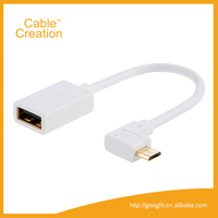 15cm Right Angle Smart Phone USB Micro USB 2.0 A Female to Micro USB B Male OTG Cable On-The-Go Adapter Support Mobile Phone