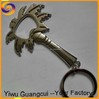 Zinc alloy metal coconut palm bottle opener key chain ring keychain