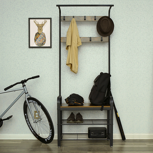 China Furniture Wholesale Metal Frame Modern Coat Rack Entryway Storage Rack With Bench