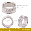 8mm Width Stainless Steel Diamond Ring / White 5 Rows Lines CZ Crystal Wedding Band Ring