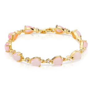 Women's desire jewelry,pink shades cubic zircon bracelet 18k yellow gold plated