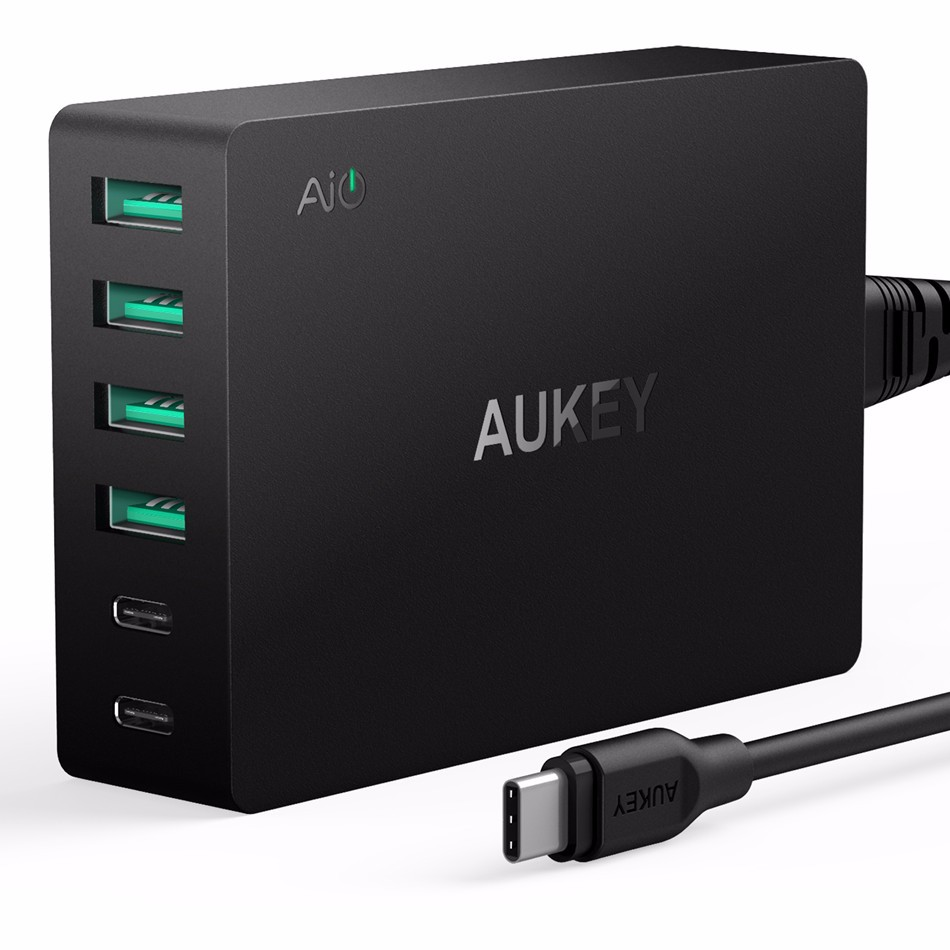Aukey USB Type C Adpater 6-Port USB Charger With Quick Charge 3.0 & USB-C Cable 60W Quick Travel Wall Charger