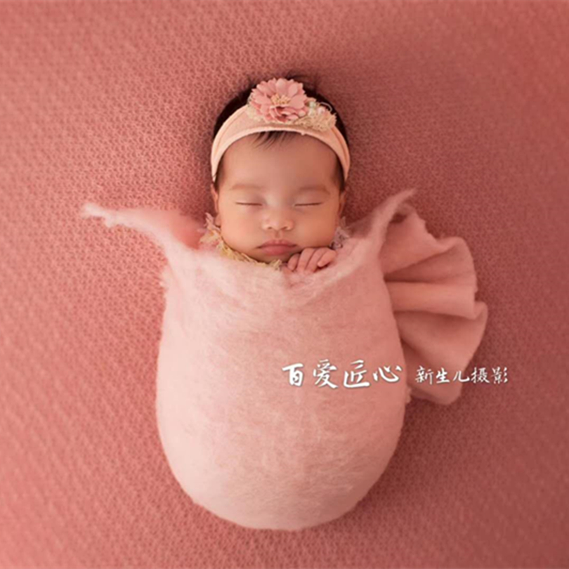Wool felt layer for newborn photography Hand felted wool bed covering basket stuffer props