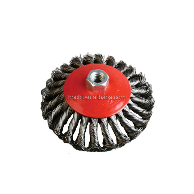 Bevel Knotted Twisted Cup Brass-Coated Wire Brush