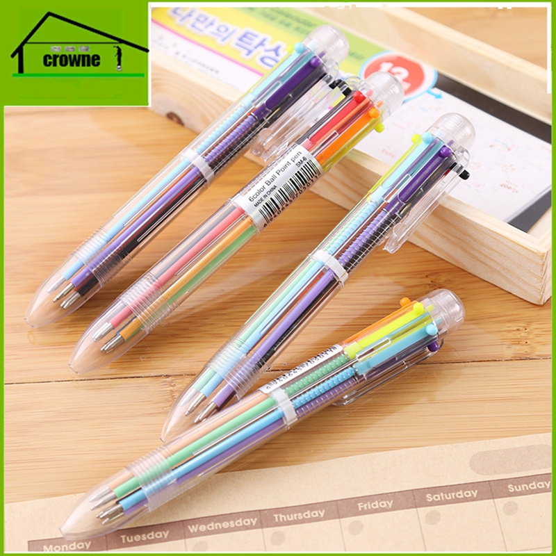 Hot sale beautiful plastic 6colors ballpoint pen for office&school