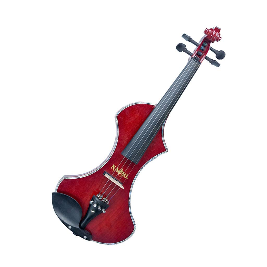 Baosity 4/4 Size Electric Violin Fine Tone Silent Ebony Parts Case Bow Rosin Cable 23.23 x7.68 x 0.98inch - Claret
