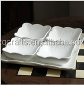 White color 5 pcs hand made ceramic dinnerware