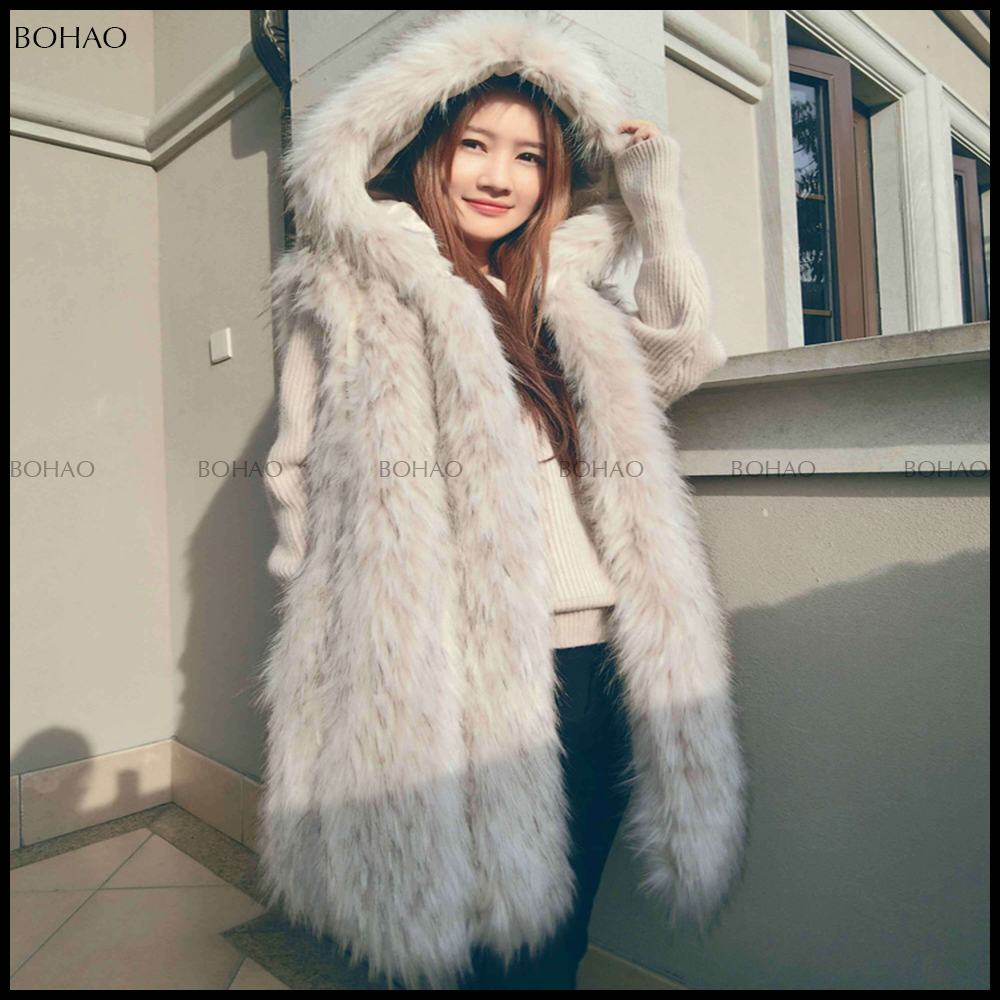 Russian Style Winter Raccoon Knitted Fur Vest with hood