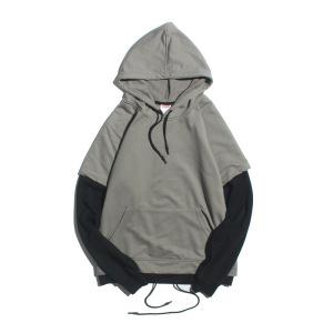 Wholesale blank streetwear 2 color splicing hooded pullover hip hop sweatshirt