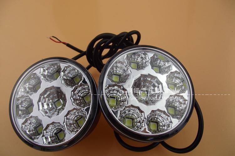 2015 горячий автомобиль - стайлинг общих круглые эшелона 9 из светодиодов, Легковых автомобилей из светодиодов противотуманные фары дневные ходовые огни изменения лампы