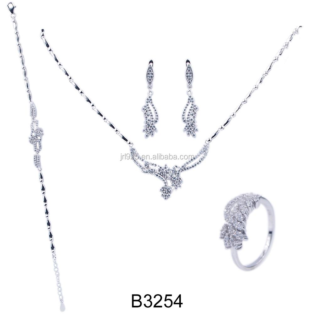 Wholesale Jewelry Set White Gold Plated Heavy Indian Fashion Silver 1 Perhiasan Rhodium 2015 Women Wedding African Beads Bridal