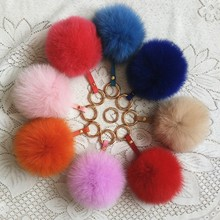 March Expo fur Ball Pom Pom Keychain for Car Key Ring or Handbag Accessories