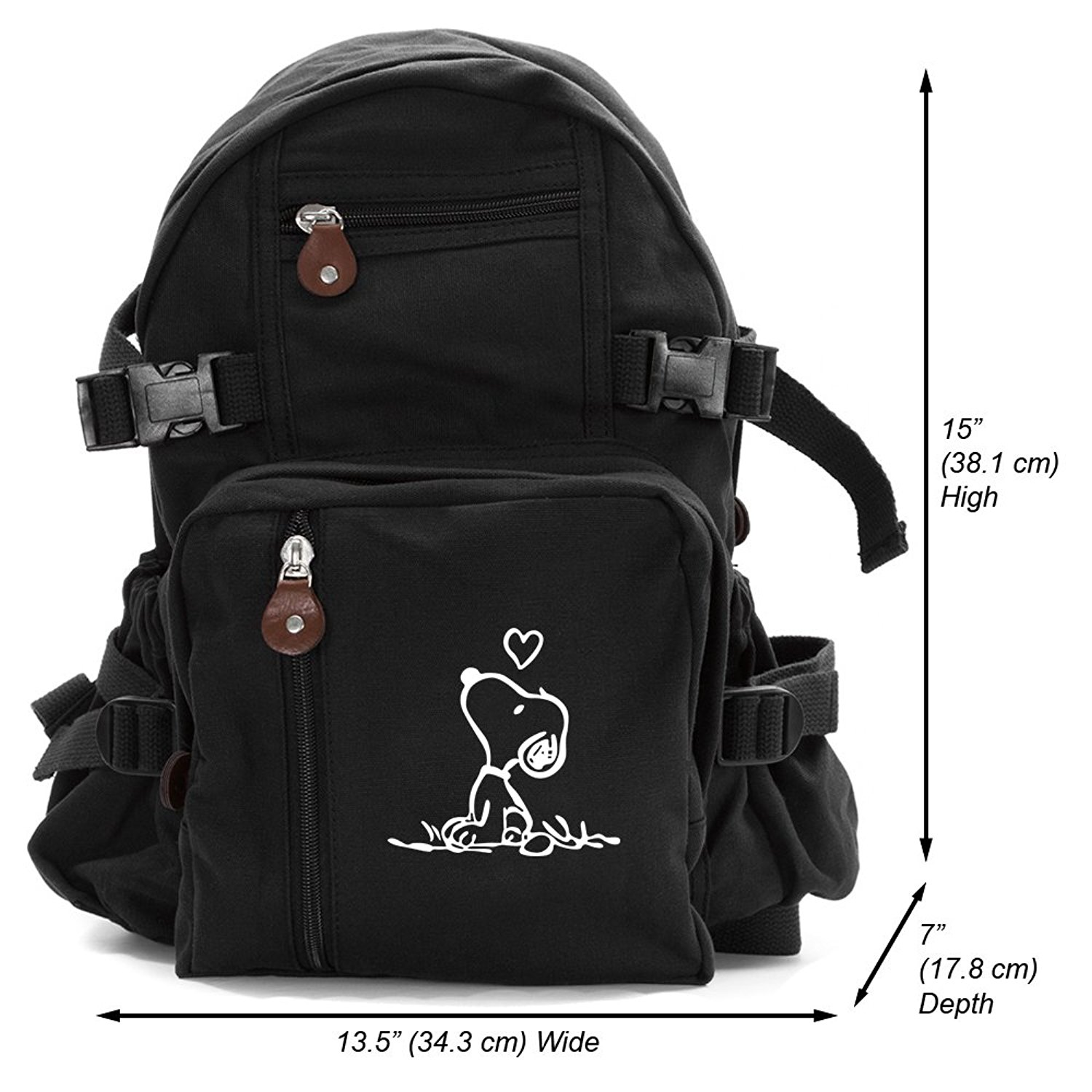 ad5ab185fd Get Quotations · Snoopy in Love Heavyweight Canvas Travel Backpack Bag