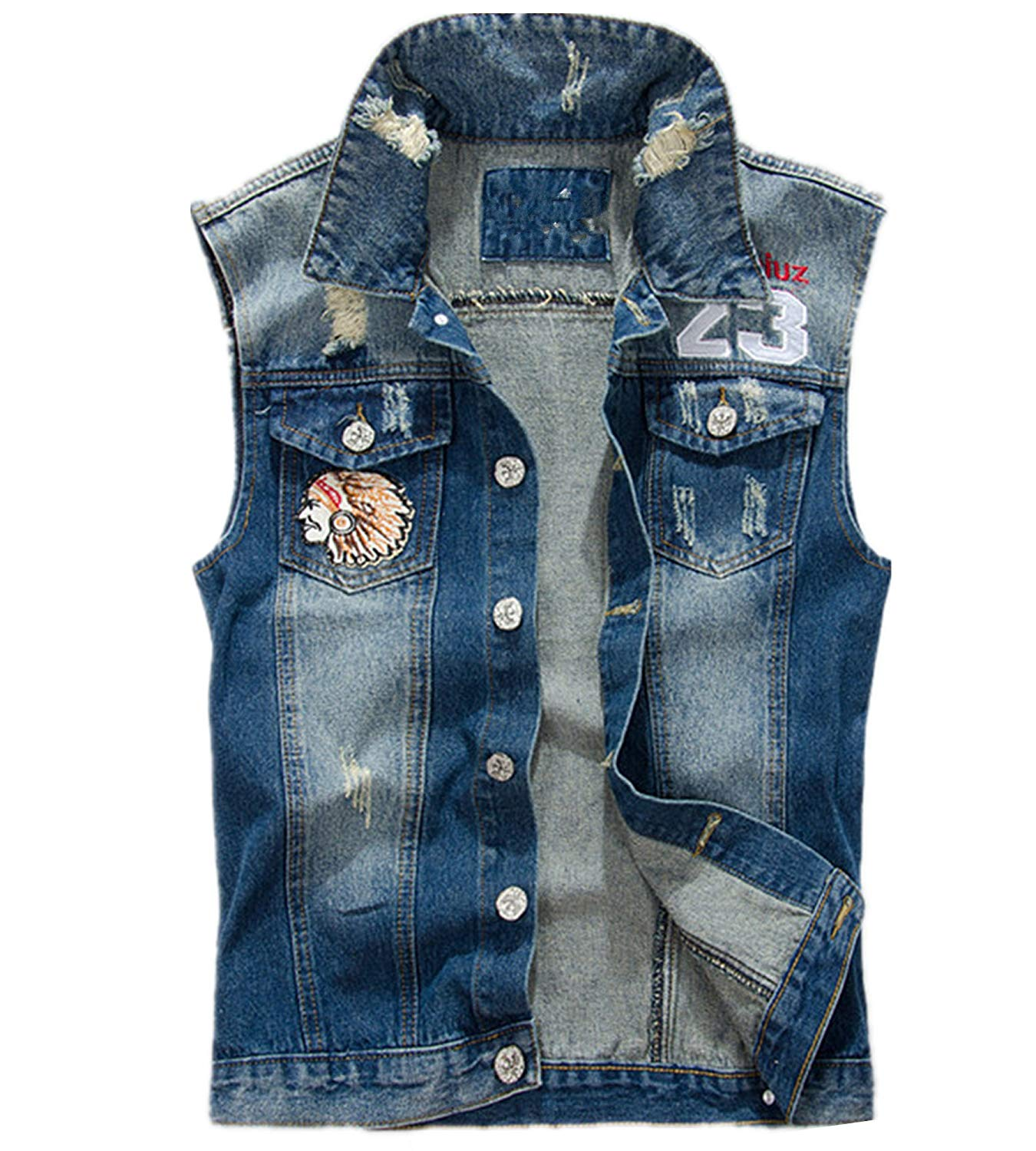 95548241c Allonly Men's Fashion Embroidered Floral Sleeveless Denim Jacket Stylish Denim  Jean Vest Tank Top