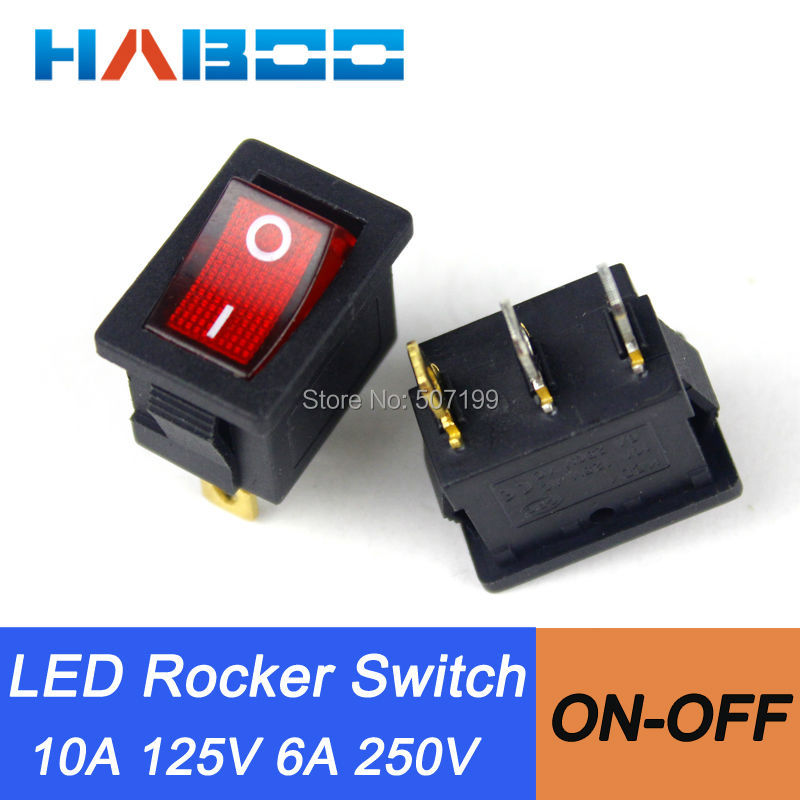 US $12 5 |100pcs packing rocker switch light T85 illuminated electric mini  rocker switch on off 3pins 2positions automotive rocker switch-in Switches