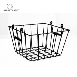 Store More Black plastic powder spray surface iron metal wire mesh storage basket