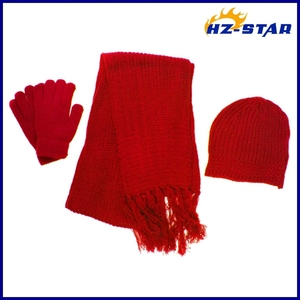 HZM-14121002 colorful simple design best selling popular fashion winter warm beret scarf &gloves set