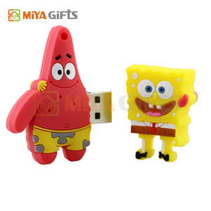 customize shape bulk usb drives with logo 3D PVC spongebob 32gb pendrive with keyrings