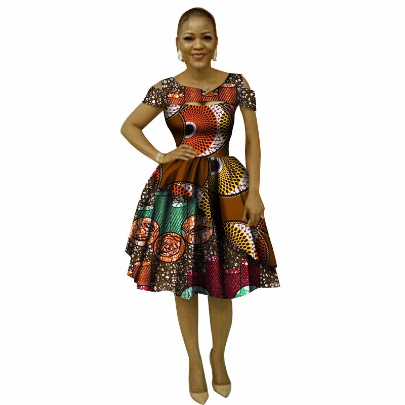 Casual Loose Print Lace Dresses Bazin Riche African Print