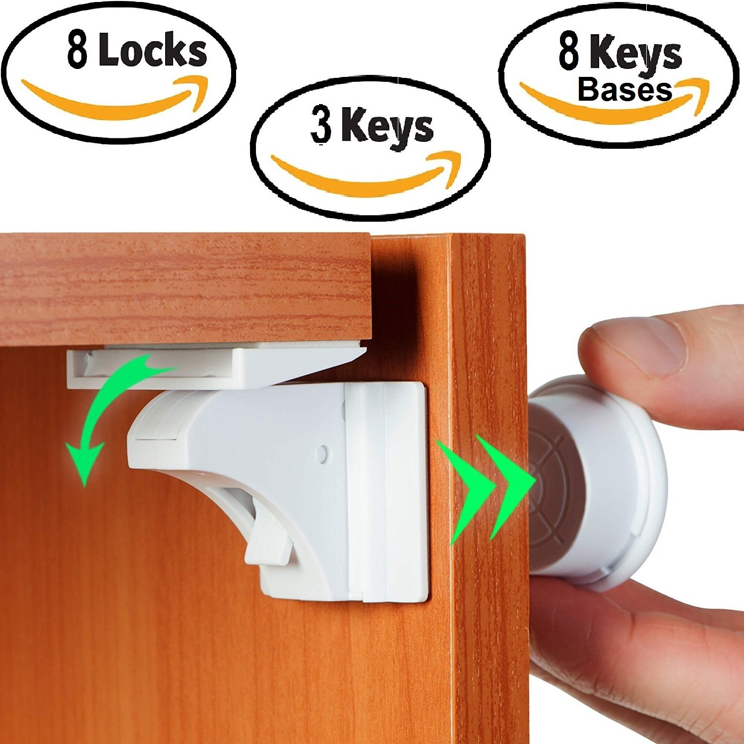 Baby Safety Magnetic Cabinet Locks, Baby Proof Cabinet & Drawers Magnetic Safety Locks, Baby Safety Locks, Easy,No Drill/Tools/Screws Needed-For Child/Baby Proofing kitchen,8 Locks+3 Keys+2Extra3M