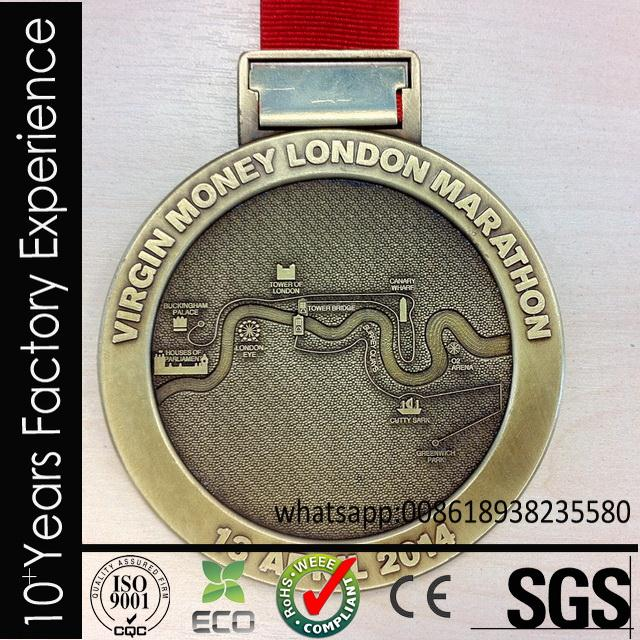 CR-QQ685_medal Fun Run medal with mental original surface with ribbon for sell