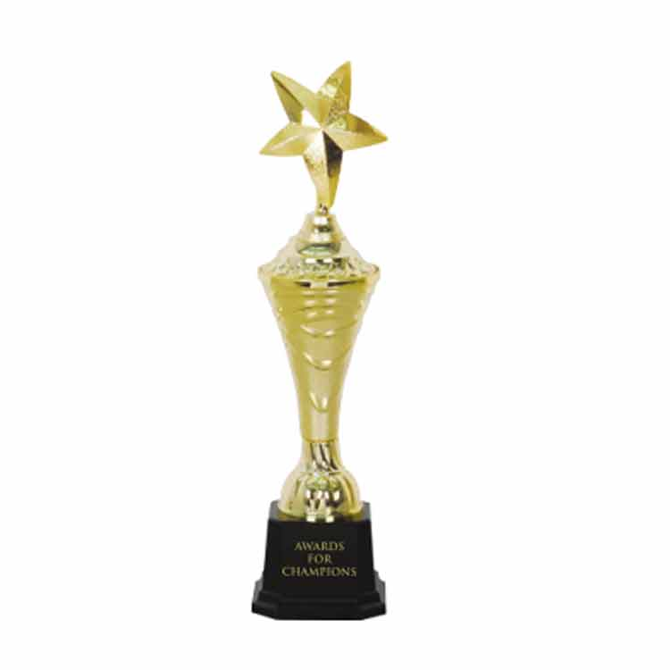 Custom gold plastic trophy part for personalized trophies