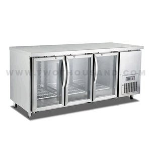 TT-BC291 3 Glass Door Commercial Undercounter Display Refrigerator