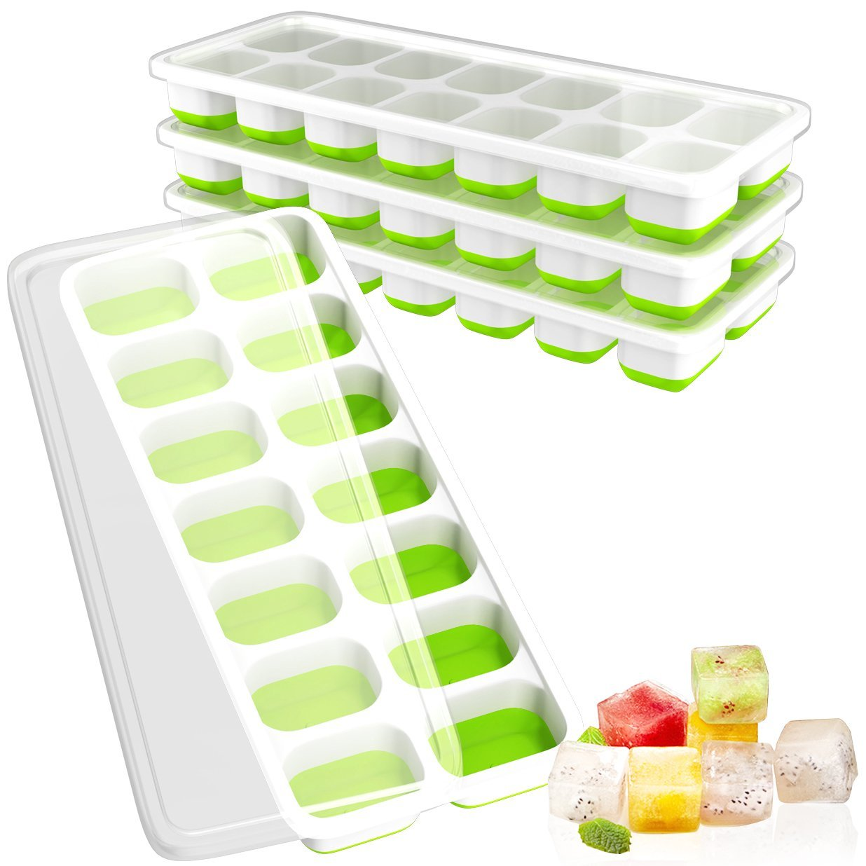 Ouddy 4 Pack Ice Cube Trays with Lid, Easy-Release Ice Cube Molds, 14-Silicone Ice Trays can Make 56 Ice Cubes, BPA Free Nontoxic and Safe, Stackable Durable and Dishwasher Safe(Green)