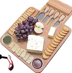 whole sale bamboo cheese board With Cutlery Server Set Platter Tray 2 Ceramic Bowls 3 Slate Labels Chalk Mark