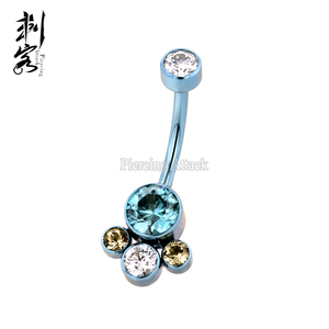 G23 Titanium Cluster Crystal Indian Style Belly Ring