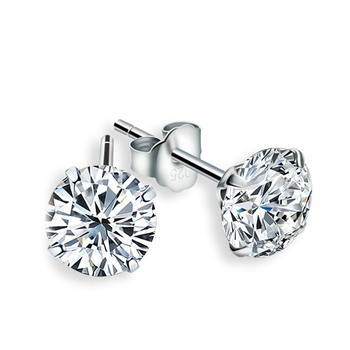 6mm 925 Sterling Silver Stud Earrings For Women White zircon Round Platinum Jewelry Gift